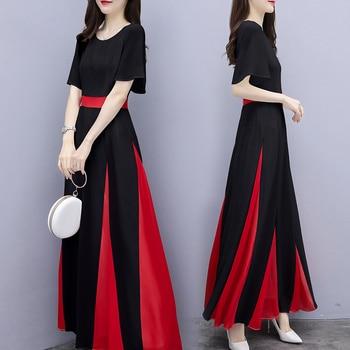 Patchwork contraste forro Midi Vestido moda temperamento verano Vestido breve salvaje mujeres Vestido elegante delgado Vestido De fiesta