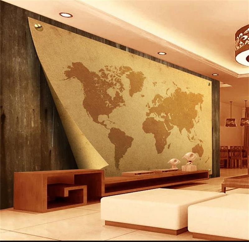 Custom 3d mural wallpaper Non-Woven wallpaper Wood kraft paper map world Living room TV backwall bedding room 3d photo wallpaper junran america style vintage nostalgic wood grain photo pictures wallpaper in special words digit wallpaper for living room