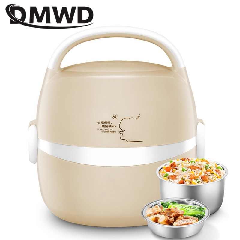 DMWD موقد صغير لطهي الأرز العزل التدفئة صندوق غداء كهربي 2 طبقات المحمولة باخرة أوتوماتيكي متعدد الوظائف الغذاء الحاويات الاتحاد الأوروبي
