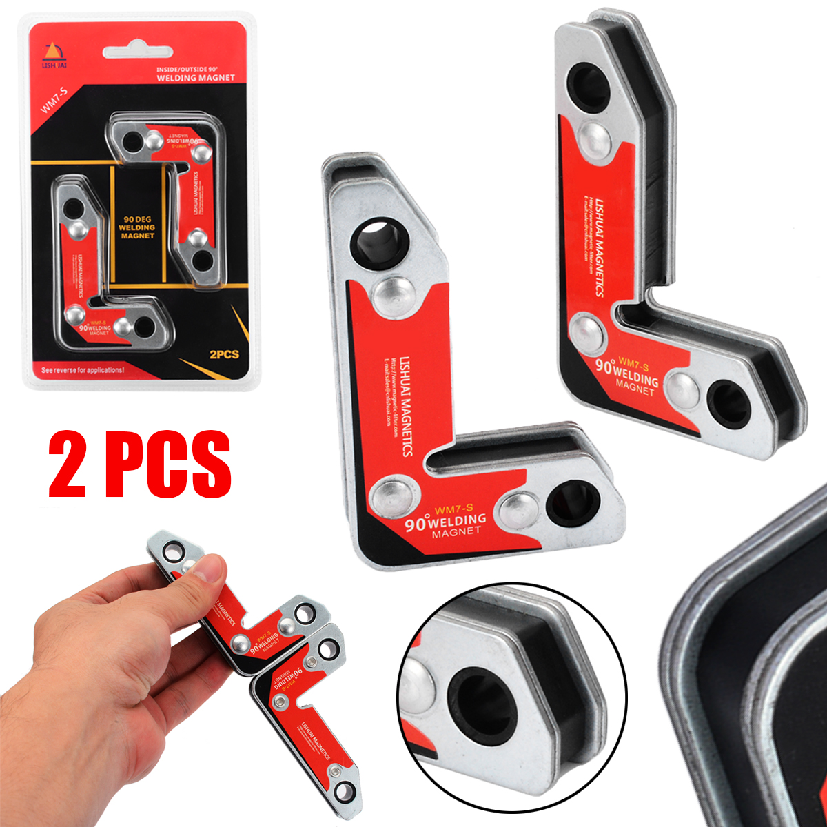 2pcs Inside//Outside Magnetic Holder Welding Clamp Fixer Welder Tool 30//60//90 Degree Welding Magnet
