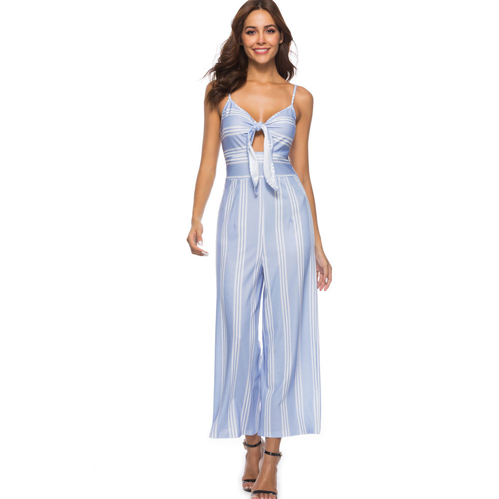 Spaghetti Strap Jumpsuit Romper Women Cut Out Knot Front