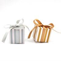 50 sztuk/partia Złoty/Srebrny Cukierki box Papier Pakowy Prezent Przysługi pakiet Z Wstążka Wedding Party Decoration supplies darmowa wysyłka