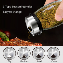 Unibird 7Pcs/Set Rotating Glass Cruet Condiment Spice Jars Set Pepper&Salt Shakers Seasoning Box Sprays Kitchen Storage Rack