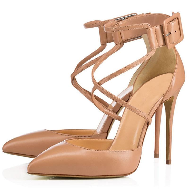 Show Chaussures De Mode Cheville Zapatos Femme Courroie Pompes As Bout Soild Stilettos Dames Nouveau Sexy Talons Mariage Haute Base Mujer Pointu Parti tEqwx1d