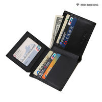 TOP Genuine Leather Men RFID Blocking Wallet Stop Credit Card And Identity Theft 6 Card Holder