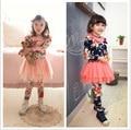 Girls Floral Clothing Sets Cotton Shirts Blouse + Leggings with Mesh Voile Skirt Princess Dress Kids Skirt-pants Dance Wear