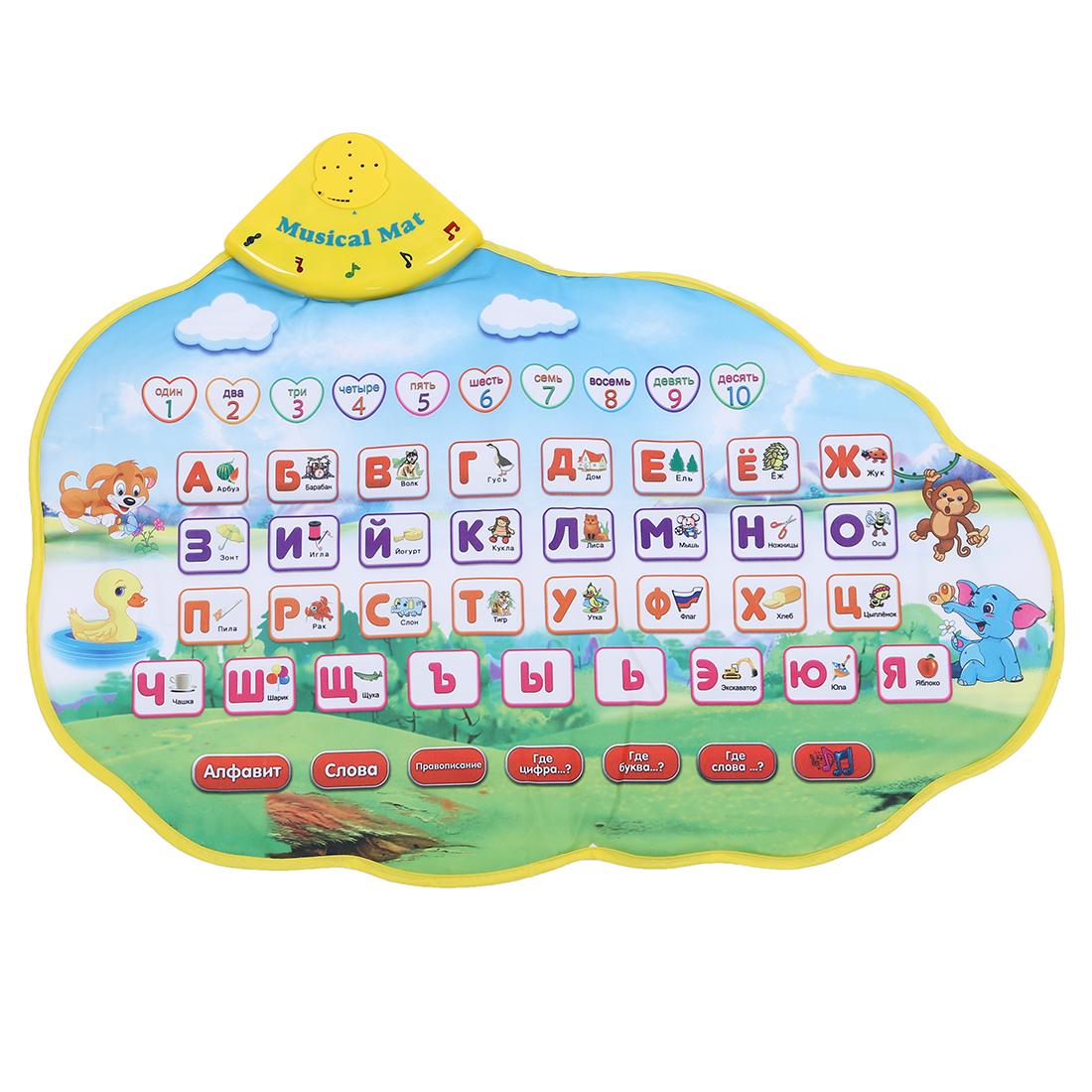 цена Children Learning Mat Russian Language Toy Funny Alphabet Mat Learning Education Phonetic Sound Carpet ABC Toy