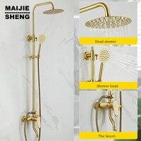 European style gold brush shower set square bathroom black shower mixer brass bath wall shower tap bathroom shower set