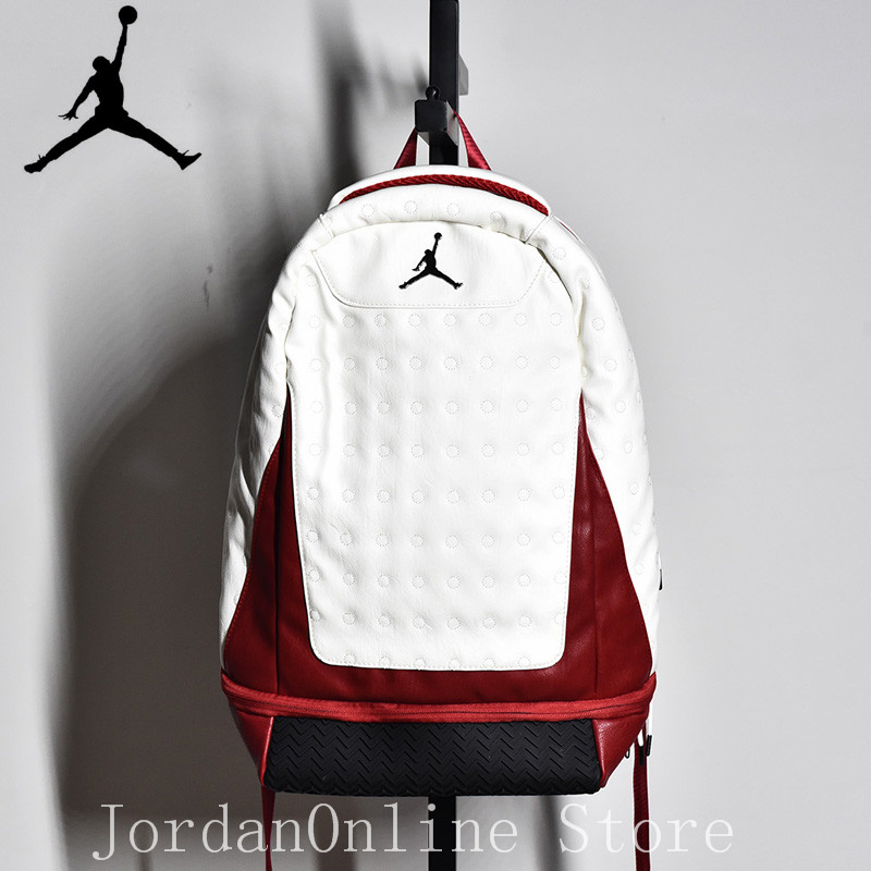 Original Jordan Retro AJ13 Sport Bags Men Women Bookbag Climbing Laptop Bag Sport Backpack Quality Couple Bag White red Color