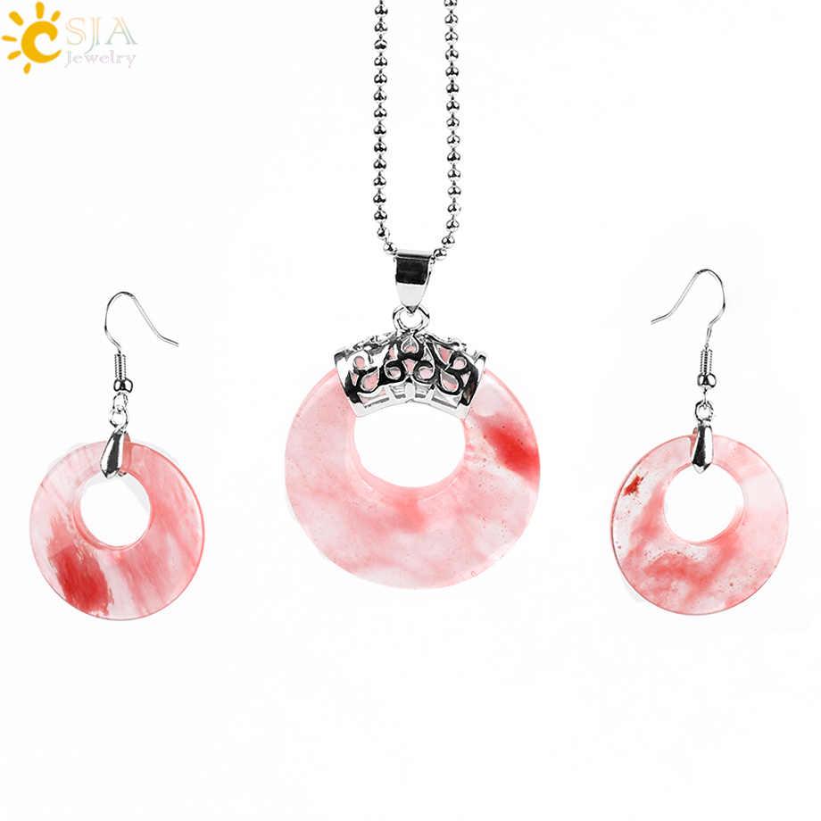 CSJA Ювелирные наборы для женщин натуральный полый круглый камень оникс унакит Фиолетовый Кристалл Опал серьги ожерелья Исцеление E568