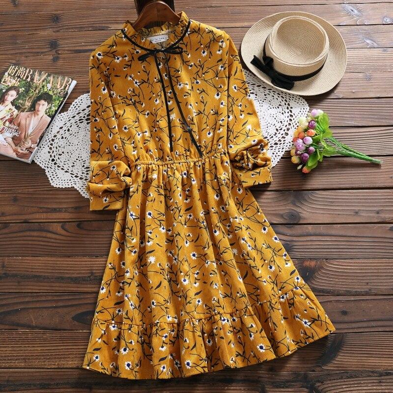 Frühling herbst frauen cord kleid neue mode beige gelb langarm floral print süße kleid kleider damen