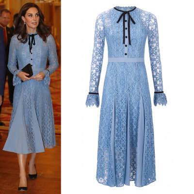 f165bd45891da 2017 Autumn Winter Kate Long Sleeve Casual Women's scalloped edges contrast  velvet neck tie Blue Eclipse Lace Collar Dress
