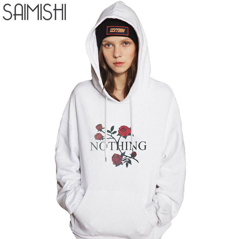 Saimishi Size S-XL Women Hoodies Autumn Fashion Long Sleeve Floral Pattern Women Sweatshirt Loose Ladies Pocket Tops