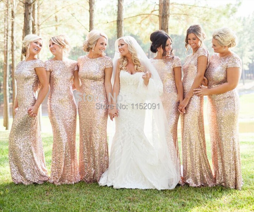 2016 Spring Bridesmaid Dresses Plus Size Gold Sequins Cap Sleeve