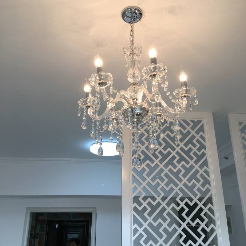 Contemporary Crystal Lighting 6light Chandelier Bedroom Light Restaurant Lamps Modern Linear Suspension Chain
