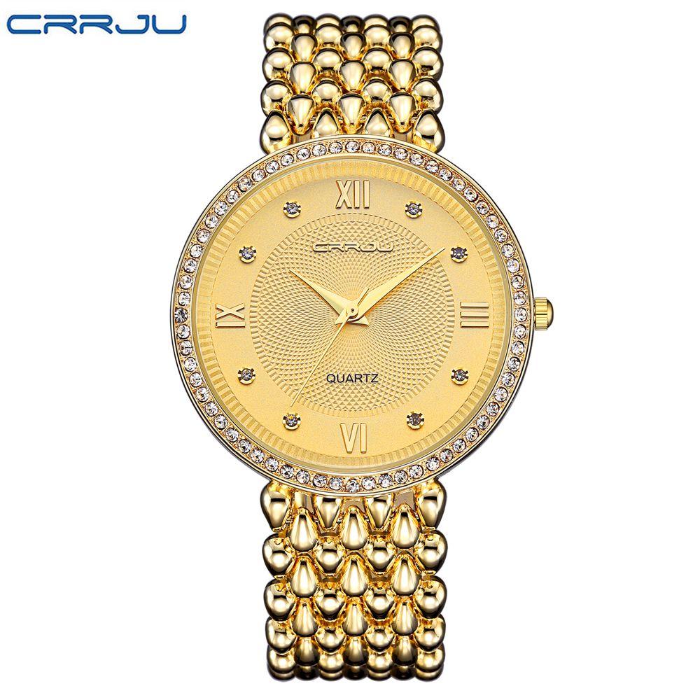 CRRJU Ladies Dress Fashion Gold Quartz Watch Famous Women Watches 2017 Luxury Brand Female Clock Montre Femme Relogio Feminino