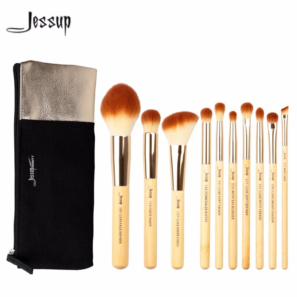 Jessup Brushes 10pcs Beauty Bamboo Professional Makeup Brushes Set Cosmetics Bag T143&CB001