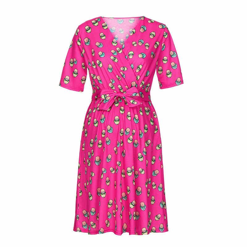 54bd1af216 ... Women s Sundress Pregnancy Butterfly Print Dress Maternity Short Sleeve  Sundress Clothing summer dress woman Nursing Clothes ...