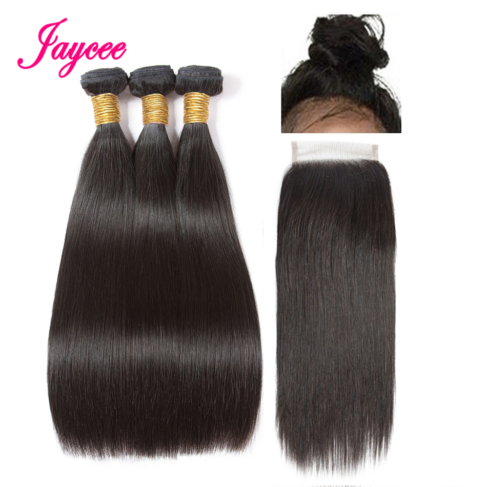 Jaycee Straight Weaves Human Hair With Closures 4*4 Free Part Peruvian Hair Bundles With Closure Remy Tissage Cheveux