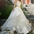 Puro Branco Em Camadas Maxi Saia De Tule Para Noivas 2016 Chique Cintura rendas de Tubulação Até O Chão Vestidos de Baile vestidos de Casamento Formal Longo saias