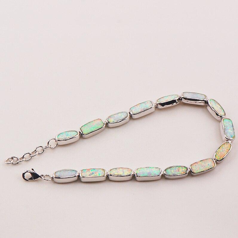 Free Shipping White Fire Opal 925 Sterling Silver Bracelet 7.5+0.5 P90