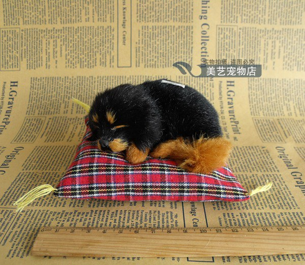 small cute simulation black dog toy lifelike sleeping dog gift about 14x13cm