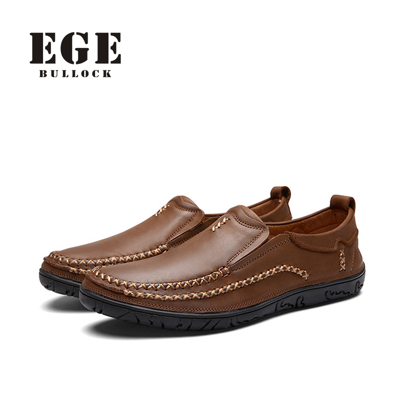 EGE Brand Men Loafers New Arrival Handmade Genuine Leather Sewing Men Flats Slip-On High Quality Autumn Driving Shoes for Men high end breathable men casual shoes loafers genuine leather lace up rubber handmade slip on sewing lazy shoes italian designer