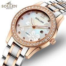 2016 new SOLLEN authentic watches steel strip quartz watch Ms. female form luminous watches calendar
