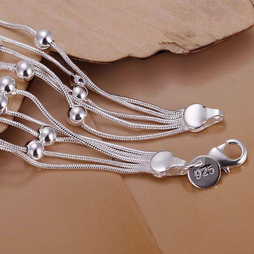 H234 925 silver bracelet, 925 silver fashion jewelry Five Line Gloss Ball Bracelet /aztajraa awhajnoa 8