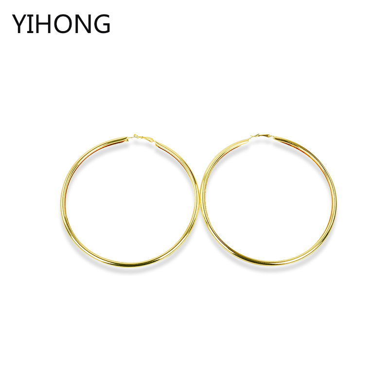 Big Gold Hoop Earrings Basketball Brincos Round Gold Large Circle Party Earrings For Fashion Women 110MM