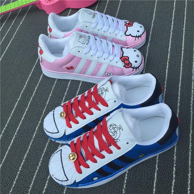 2017 Autumu Casual Mujeres de Los Planos Zapatos Animal Lindo Del Gato Del Gatito Mujeres de la impresión Zapatos Lace Up Diseñador Niñas Mocasines Pisos Femeninos zapatos