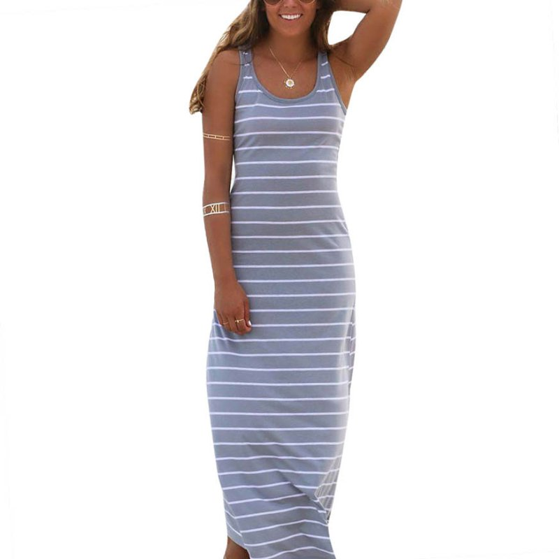 2019 Fashion Women Striped Boho Long Maxi Dress Newest Sleeveless Beach Vest Dresses