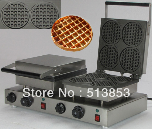 Free Shipping,High Quality Doulbe-Head Electric Round Waffle Maker Machine Baker free shipping high quality doulbe head electric cream cone round waffle maker machine baker