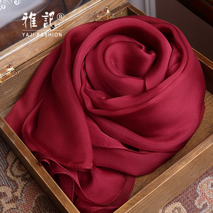 Genuine Silk Women Scarf 2017 Summer Autumn Winter High Quality Shawl 200 * 65 cm Fashion Wine Solid Color Scarves
