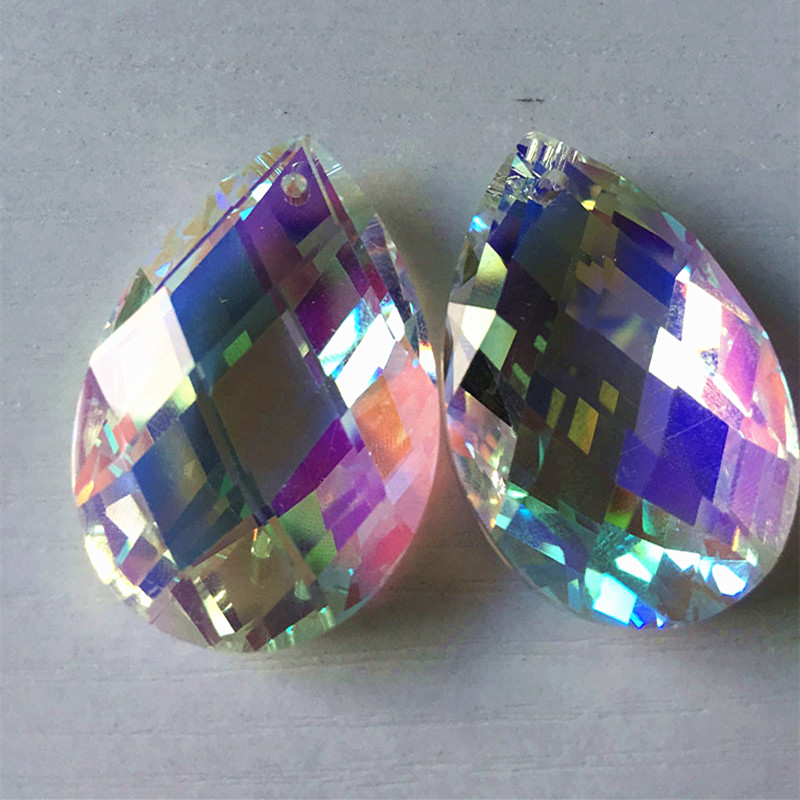 Hot SALE!Factory Price 20PCS/Lot 38*22MM K9 Optical Clear AB Crystal chandelier parts,suncatcher prism lighting crystal pendants
