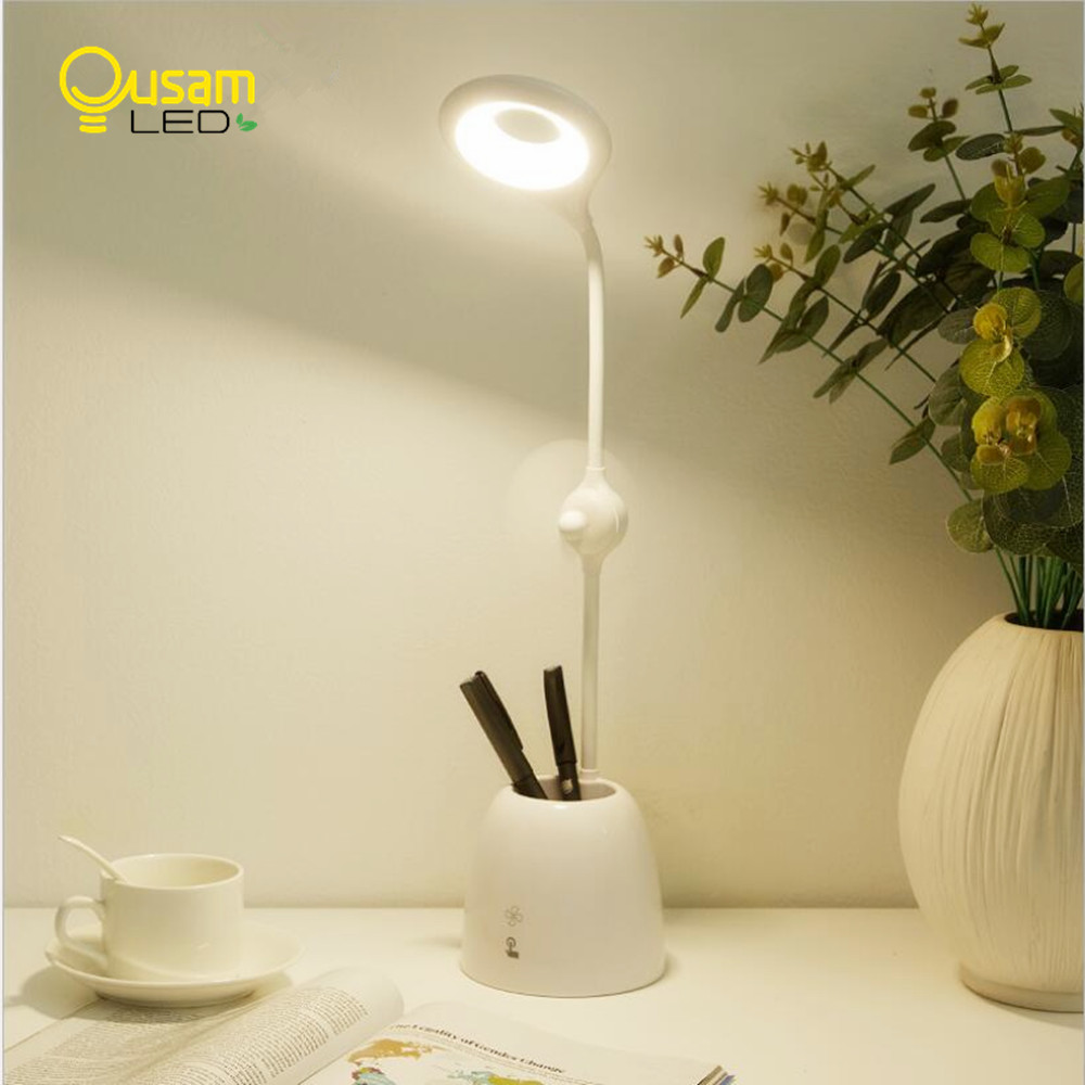 Newest Design LED Table Lamp Dimmable Smart Touch USB Desk Lamp With Pen Container Fan Reading Book Light DC/Rechargeable