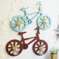Rural Garden Bicycle Hydroponic Wall Hanging Nordic Decoration Home Wooden Crafts Flower Arrangement Glass Vase Wall Decoration