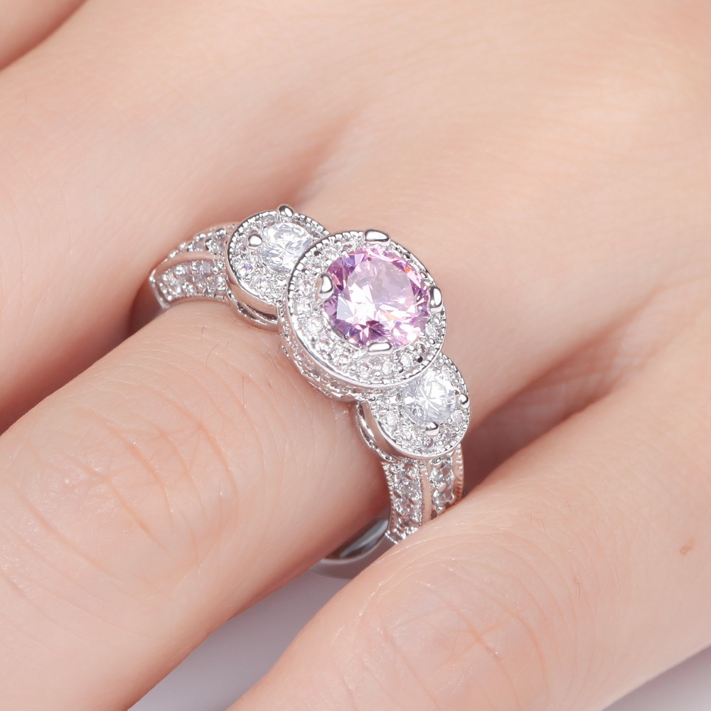 MEGREZEN Wedding Ring With Pink Stone Silver Jewelry Austrian ...