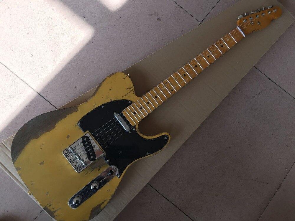 Os mais recentes de alta qualidade TELE 6 Cordas handwork de Bordo fingerboard Guitarra Elétrica, guitarra telecasterr, cor amarela gitaar