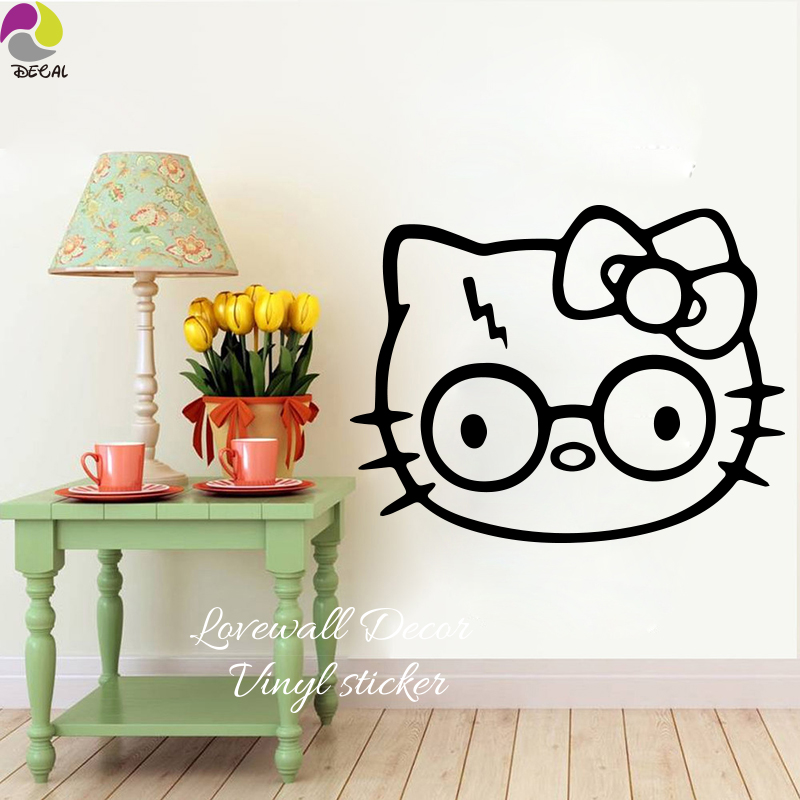 Hello Kitty Harry Potter Wall Sticker Laptop Car Decal Cartoon Cat Animal  Cut Vinyl Kids Room Living Room Bed Room Home Decor  In Wall Stickers From  Home ... Part 96