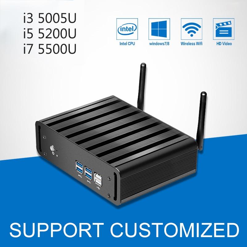 Мини ПК Windows 10 компьютер Linux мини Core i3 5005U i5 5200U i7 5500U Графика 5500 HTPC офисный компьютер игровой PC, HDMI, VGA