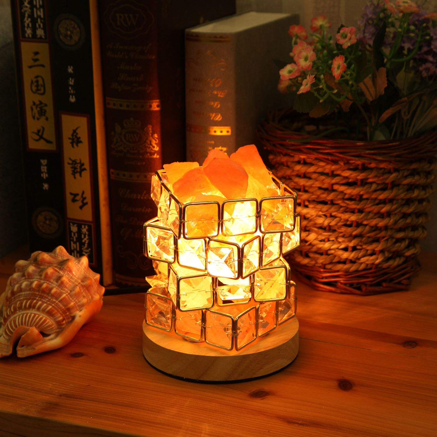 BMBY Himalayan Salt Lamp,Natural Hymalain Salt Rock in Crystal Basket with Dimmer Switch,UL-Listed Cord &Wood Base US Plug rakaposhi natural himalayan salt rock lamp with dimmer switch