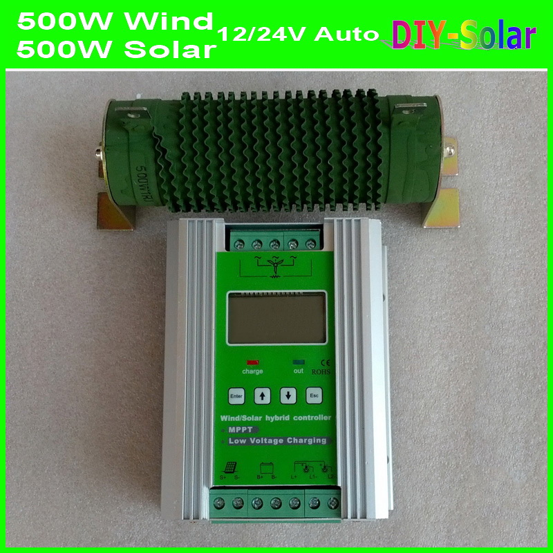 1000W  Boost MPPT Wind Solar Hybrid Charge Controller 12V 24V auto-identify 500W Wind Power+Solar 500W Hybrid Battery Regulator 20a 12 24v solar regulator with remote meter for duo battery charging