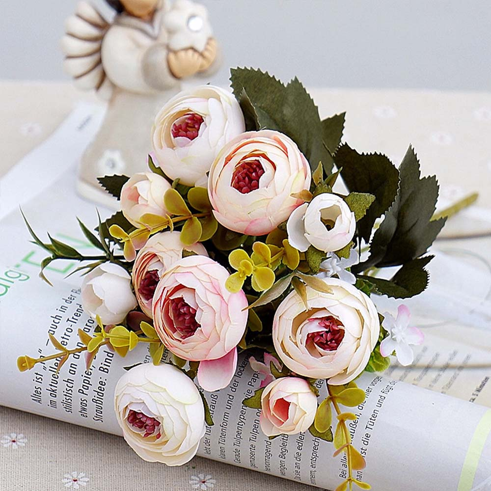 Aliexpress buy 1 bouquet artificial flowers cheap silk flower aliexpress buy 1 bouquet artificial flowers cheap silk flower european fall small tea bud fake leaf wedding home party vases for decoration from izmirmasajfo