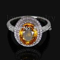الفاخرة البيضاوي الأصفر الياقوت و الماس الدائري في 14kt الذهب الأبيض خاتم الخطوبة خاتم الزواج