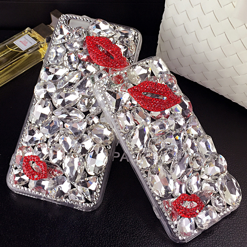 Diamond Crystal Lips Rhinestone Phone Cases Back Cover for Xiaomi Mi5 Mi 4 4S 4C 4I
