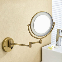 High Quality 8 Brass Antique 1x3 Magnifying Bathroom Wall Mounted Round Led Cosmetic Makeup Mirror With