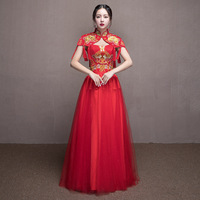 Women Elegant Embroidery Cheongsam Flower Chinese Traditional Wedding Qipao Red Sexy Mesh Dress Floor Length Evening Gowns