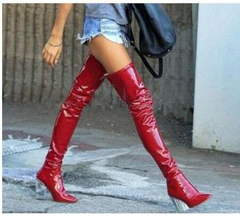 Clear Crystal Transparent High Heels Patent Leather Over The Knee Boots Black Red Latex Sexy Thigh High Party Zipper Long Boots
