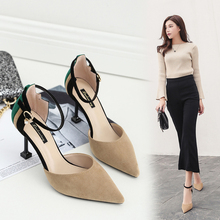 Fashion Women Apricot/Black Flock Sandals 6cm/8cm High Heels Sandals Spring/Summer Female Shoes Casual Lady Shoes Woman Footwear 2019 concise women platform sandals high heels wedges sandals summer apricot black female shoes casual lady shoes woman footwear